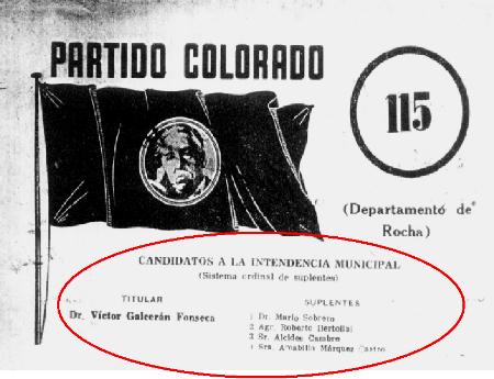 Lista 115 del Partido Colorado postulando a Víctor G. Fonseca y a Amabilia Márquez Castro como suplente