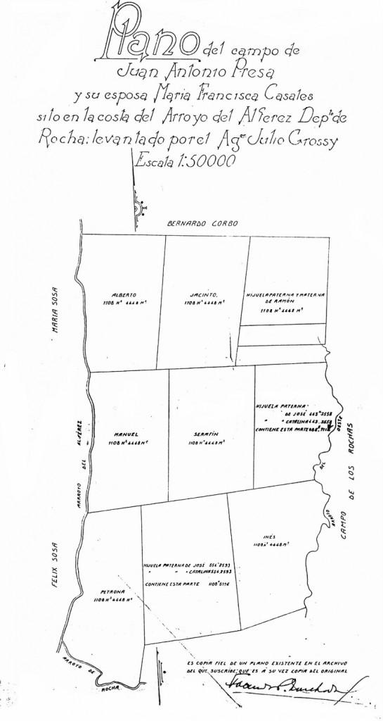 Plano particionario de los campos quedados al fallecimiento de Juan Antonio Presa relevandos por el Agr. Julio Grossy el 9 de setiembre de 1839