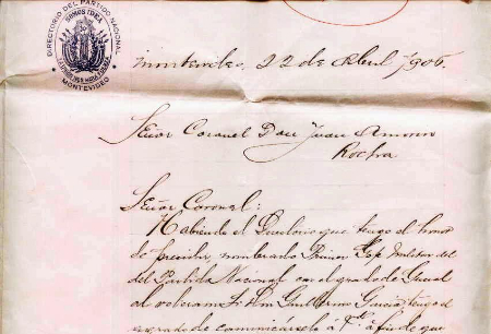 Carta del Directorio del Partido Nacional al Coronel Amorín comunicándole la designación de Guillermo García como General y Primer Jefe Militar (1906)