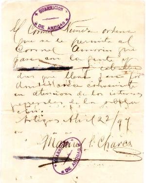 Salvoconducto firmado por Manuel Chaves a Amorín en Artigas (hoy Río Branco) para movilizar sus tropas (1897)