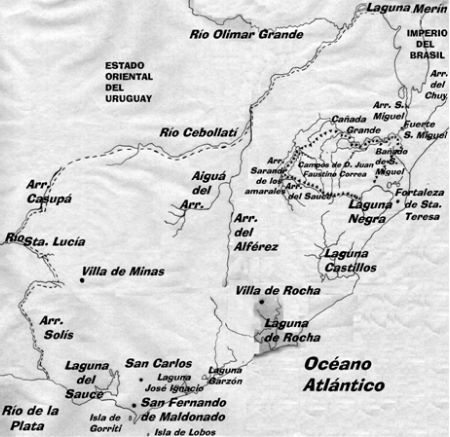 Mapa 1 Ubicación de los campos de Don Juan Faustino Correa.  Año  1831
