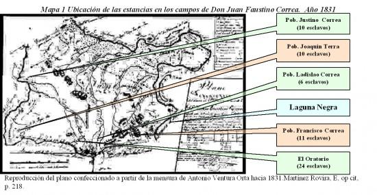 Mapa 2 Ubicación de las estancias en los campos de Don Juan Faustino Correa.  Año 1831