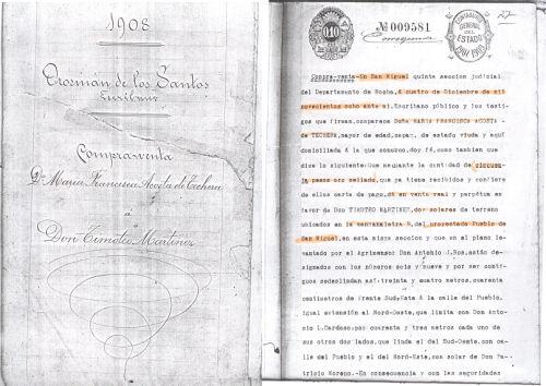 """Protocolo del Esc. Orosmán de los Santos (1908) anterior de la nominación legal de """"18 de Julio"""""""