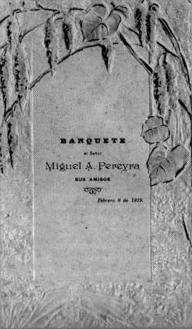 """Banquete-homenaje a Pereyra celebrado en el Hotel  """"Alhambra"""" de la capital (1919)."""