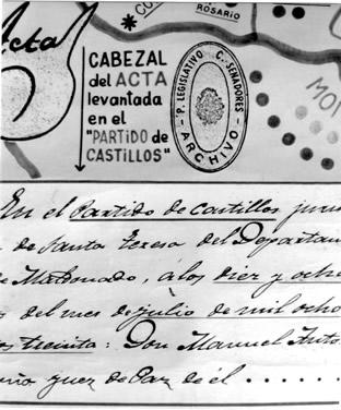 Encabezado del original del Acta del Partido de Castillos