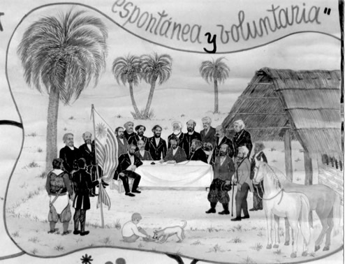 Dibujo de Humberto Ochoa Sayanes representando a los  21 ciudadanos del Partido de Castillos jurando la Constitución