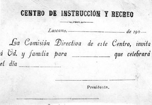 Invitación de época (década de 1900 a 1909)