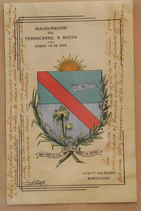 Programa de la Inauguración del Ferrocarril a Rocha donde consta el escudo departamental ideado por Ribot a pesar de que aún no era emblema oficial (1928)