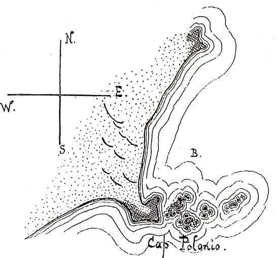 Croquis del Cabo Polonio realizado por el metereólogo polaco Henryk Arctowski.