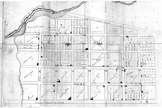 Plano provisorio levantado para el reclamo por el cierre de calles por H. Ureta (1914).