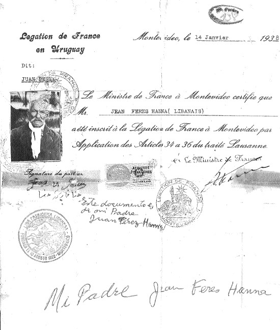 "Documentación francesa de Jean Ferez (""Juan Pérez"")"