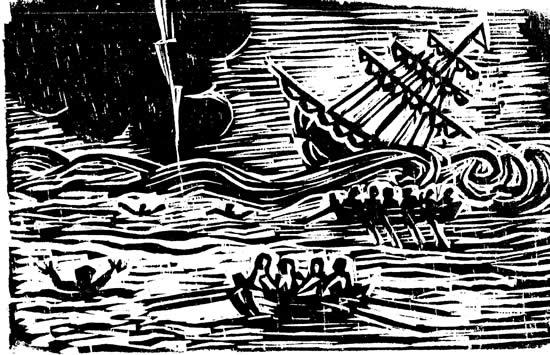 El Naufragio de Olley - grabado de Juan Luis Martínez