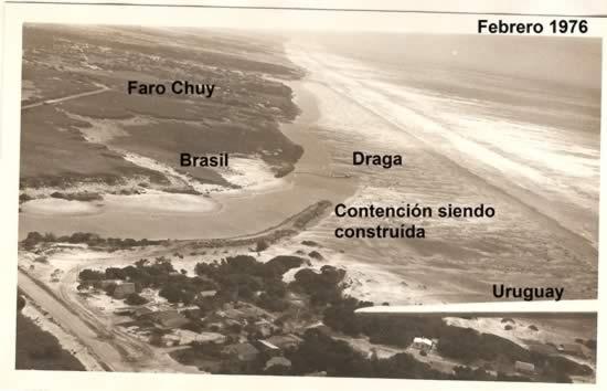 Vista aérea de la zona de frontera del arroyo Chuy con el Atlántico (1976)