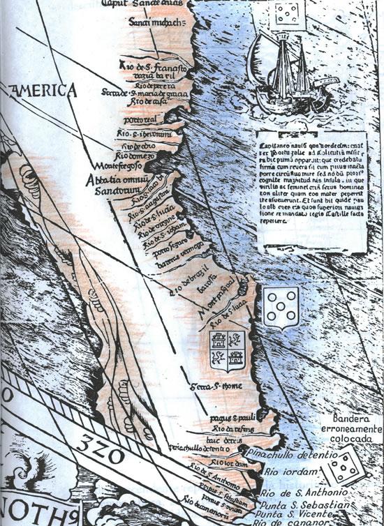 Waldseemüller (detalle de aproximación  al Rio de la Plata).