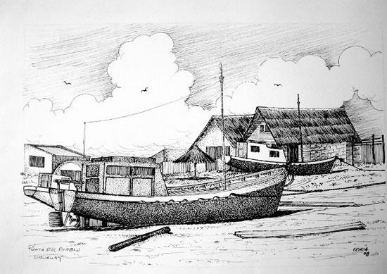 Las típicas barcas de pescadores (obra del autor)