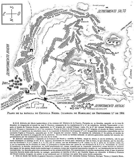 Plano de la Batalla de Masoller. Se ve sitio donde cayó Yarza (Boletín Histórico del Ejército No. 327-330, 2006, pág. 67)
