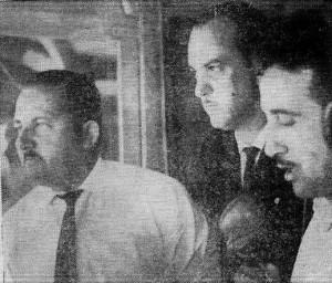 Carlos Sosa, Juan San Martín Téliz y Tom Mix Russi, equipo deportivo de Difusora Rochense en el Estadio Sobrero (1963)
