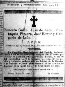 """Obituario publicado en """"El Civismo""""  (30 de mayo de 1905)"""