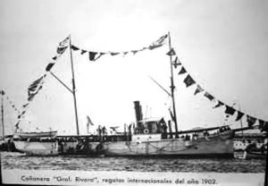 """La cañonera """"Gral Rivera"""" surta en el puerto de Montevideo"""