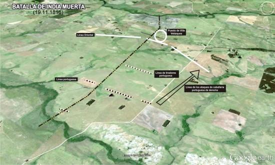 Plano de la Batalla de India Muerta y posiciones de las tropas en combate