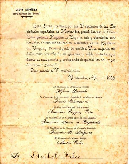 """Reconocimiento de la Junta Española  """"Pro-Naúfragos del Poitou"""" a Falco"""