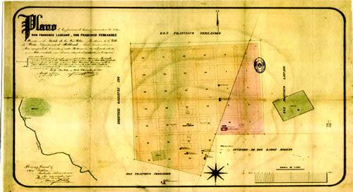Plano original de los agrimensores Joanicó y Reis