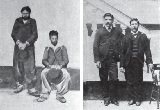 (izq) Manuel Páez y Juan Cabrera. (der) Aurelio González e Isaías González