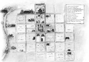 """Reconstrucción del damero original tomado de Marlene Yacobazzo, """"Rocha Testimonio de dos siglos"""""""