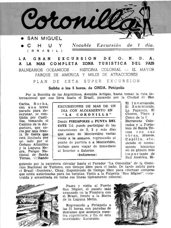 1961 - Guia de excursiones turísticas desde Piriápolis de empresa ONDA