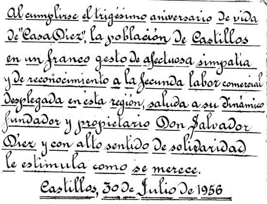 """Portada del álbum entregado por la ciudadanía a  Salvador Díez con motivo de los 30 años de la  """"Casa Díez"""" en Castillos"""